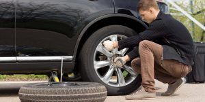 how to change a tire on a double axle travel trailer