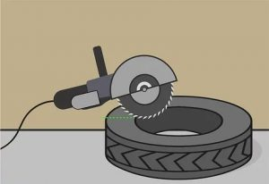 how to cut a tire off a rim